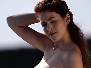 solo female, red head, babe, outdoor, small tits, striptease