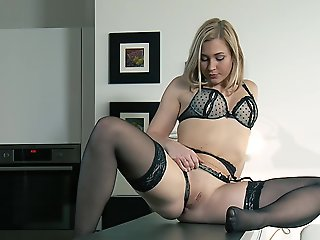 blonde, big ass, high heels, lingerie, masturbation, small tits
